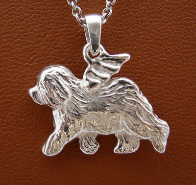 Sterling Silver Old English Sheepdog Angel Pendant