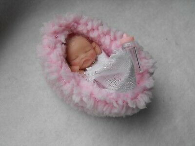OOAK handmade miniature sulpt  5 cm clay baby  girl doll  1/12th  by Carol