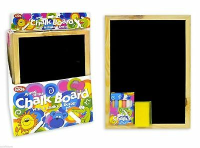 New Quality Kids Children Chalk Board Black With 4 Chalks and Duster Memo Notice