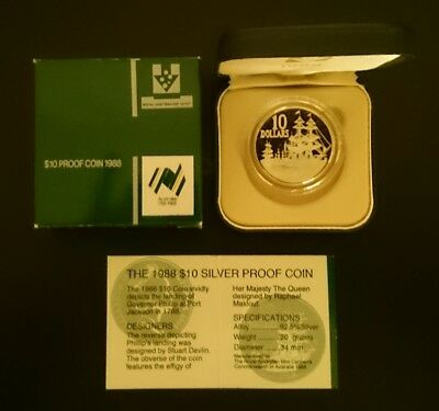 1988 Bicentenary - The Tall Ships $10 Silver Proof Coin - In Excellent Condition