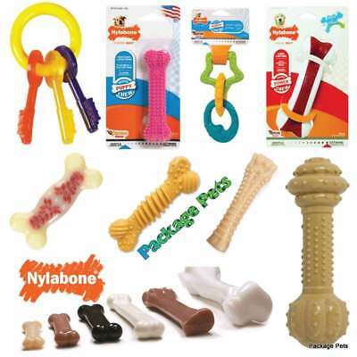 Nylabone Puppy Teething Tough Flavoured Dog Toy Chews Bones Keys Dental Health