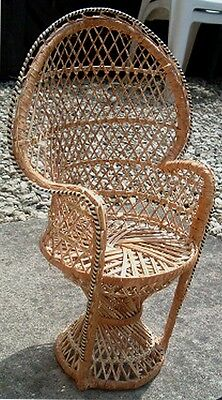 Dolls Chair Wicker, height 44 cm, seat height 17 cms.