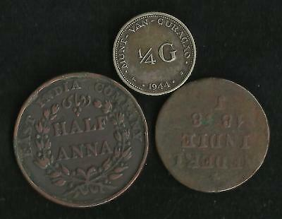 Lot 3 Monnaies Colonies Anglaises / pays-Bas : 1/4 Gulden 1944...