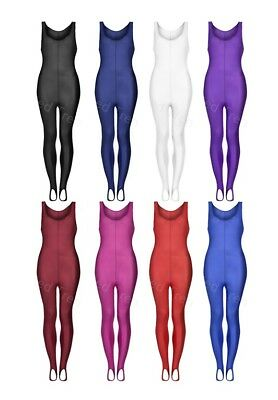 Girls Sleeveless Dance Unitard Gymnastics Stirrup Catsuit