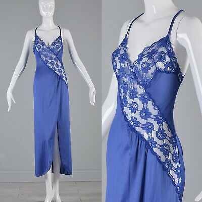 M Vintage 1970s 70s Royal Blue Sheer Nightgown Val Mode Nightie Lingerie Lace