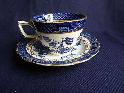 10x Booths Real Old Willow Tea Cup & Saucer | Scalloped Gilt Rim | A8025