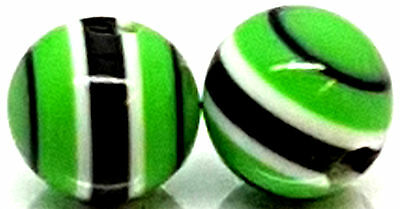 Replacement Ball Balls Green/Black/White Stripe Bead Ball for Barbell Labret Bar