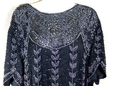 Womens Top Black Beaded Embellished Sequin Party Wedding  Sz 18 20 1x Vintage