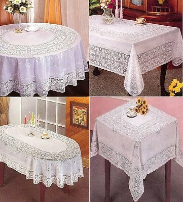 New Vinyl White Oval Rectangle Square Round Embossed Lace Tablecloth Table Cover