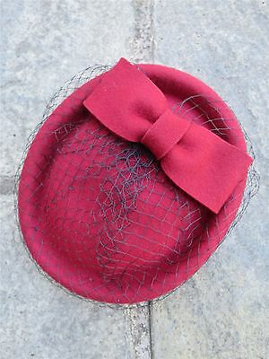 Vintage Authentic 1940s 60's Style Deep Red 100% Wool Felt Pill Box Hat With Bow