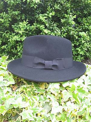 1940s Forties Vintage Style Black 100% Wool Fedora Large Trilby Spiv Hat XL