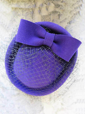 Vintage Authentic 1940s 60's Style Purple 100% Wool Felt Pill Box Hat With Bow