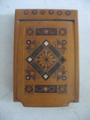 Antique Snuff Cigarette Box Wood w MOP inlay Russian Hungarian