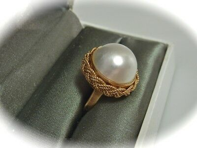 Vintage 14Ct Gold Mabe Pearl Ring Jj