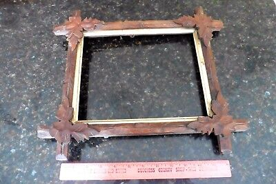 "Wooden frame photo picture hand carved vintage 10x8"" leaves cuckoo clock style"