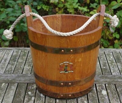 ### Superb Quality Vintage Coopered Oak Ships Bucket ###