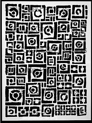 "NEW Stencil Girl Products, Stencil, Squares and Circles, 9""x12"", L203"