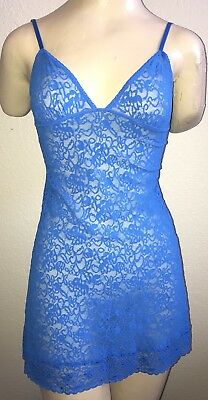 Women's Victoria's Secret Blue Lace Nightie Lingerie Chemise, Size Medium