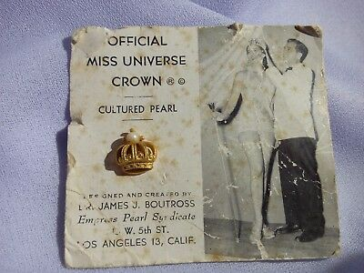 1952 Official Miss Universe Contestant Crown Pin James J. Boutross
