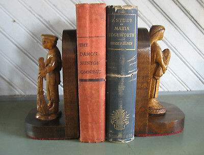 Vtg Breton Sculpture French Hand Carved Wood Figures Brittany Bookends