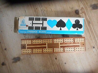 old inlaid cribbage board and pegs,original box