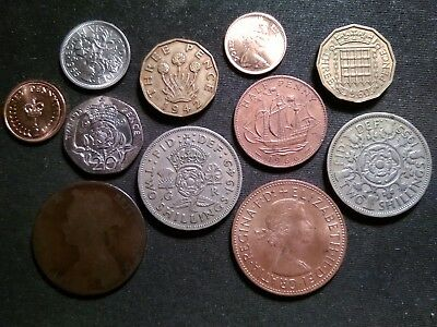 Great Britain Coins Lot Some Old 1890-1989 Two Florins Sixpence Threepence Penny