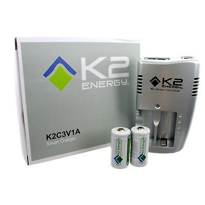 K2 Energy K2C123A Battery Charger with 2 LFP123A 3.2V Li-Ion Batteries