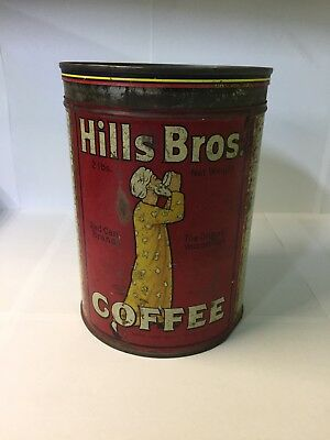 Antique Vintage Hills Brothers Coffee Can Regular Grind