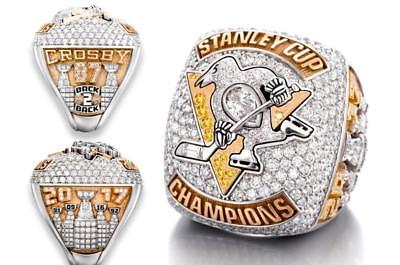 2017 Pittsburgh Penguins Hockey Stanley Cup Championship Ring Size 8 - 14