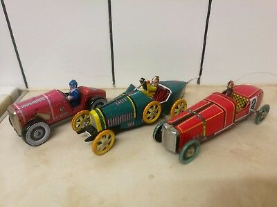 3 x Collectable Tin Plate Clockwork Toy Cars