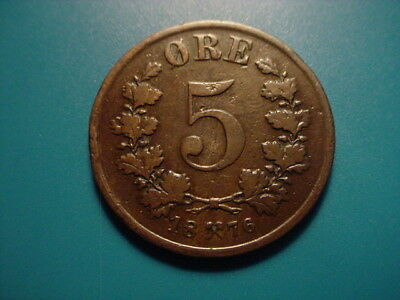 Norway 1876 5-Ore In Nice Condition