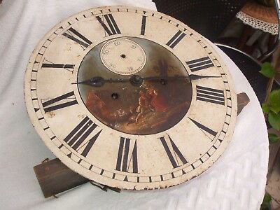Antique 8 Day Long Cased Clock Face & Movement With Painted Face