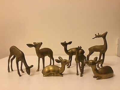 Vintage Brass Cast-Metal Deer Stag of Standing & sitting full collection