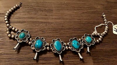 Old Pawn Sterling & Turquoise Blossom Bench Bead Necklace 80 Grams No Reserve