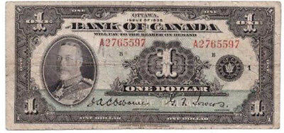 $1 Canada 1935 - well used - still worth a dollar :>)