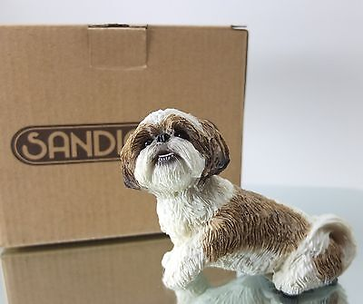 NIB Sandicast SHIH TZU Gold/White Small Size Sculpture