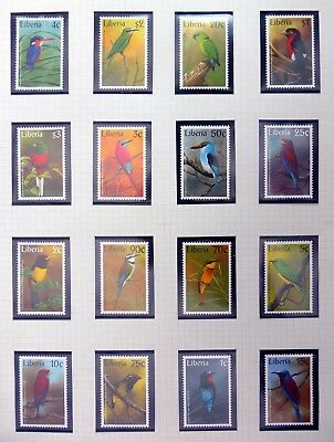 LIBERIA Beautiful Birds Complete (16) U/M NB4163