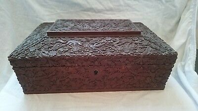 Antique Indian Carved Sandalwood Box Animals Flowers