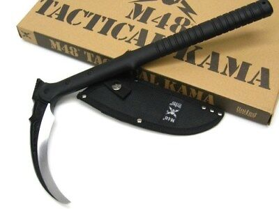 UNITED Cutlery Tactical Black M48 KAMA Fixed Blade Knife + Sheath New! UC3017