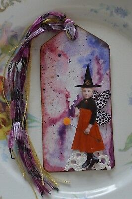 Wonder 2 - A Mixed Media Halloween Collaged Space Witch Tag