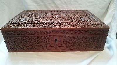Good Quality Antique Indian Carved Sandalwood Box With Figures Deities