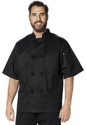 Dickies Unisex Classic Knot Button Chef Coat S/S in (Black & White) Style DC48