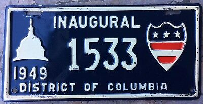 1949 District of Columbia INAUGURAL License Plate #1533 Tag 49 DC Harry Truman