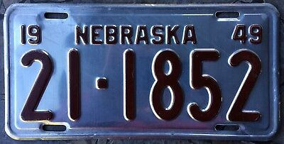 1949 Nebraska License Plate #21-1852 Tag 49 NE