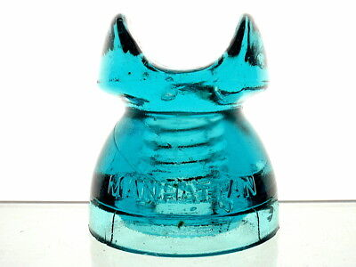 EXCEPTIONAL- BRIGHT BLUE CD 256 MANHATTAN PATENTED JUNE 17 1890 Cable Insulator
