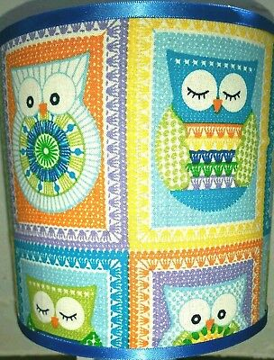 Bedside table lamp touch night light fabric shade owls