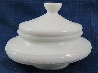 Vintage French Milk Glass Covered Vanity / Comestic container Modele Depose #10