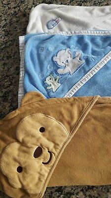 Infant hooded receiving swaddling blankets lot 3 pcs. preowned, Carters and more