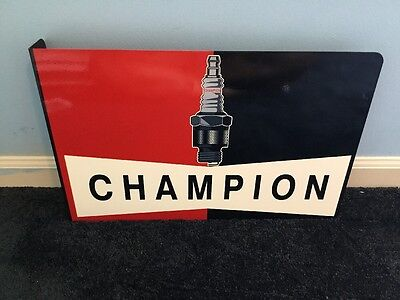 "Vintage Champion Spark Plugs 18.5"" Metal Car, Truck, Gasoline & Oil Flange Sign!"