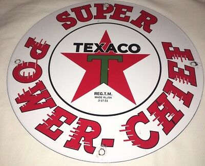 "Vintage Texaco Power Chief Gasoline 11 3/4"" Porcelain Metal Gas & Oil Sign! Fire"